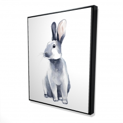Framed 48 x 60 - 3D - Gray curious rabbit