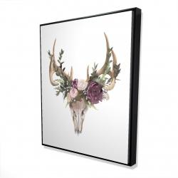 Framed 48 x 60 - 3D - Deer skull with flowers
