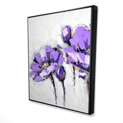Framed 48 x 60 - 3D - Purple abstract flowers