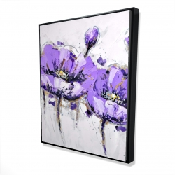 Framed 48 x 60 - 3D - Purple anemone flowers