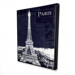 Framed 48 x 60 - 3D - Paris blue print and eiffel tower