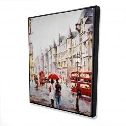 Framed 48 x 60 - 3D - European street by a rainy day