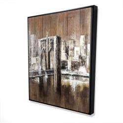 Framed 48 x 60 - 3D - Aged finish brooklyn bridge