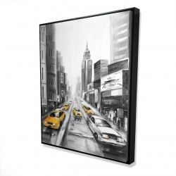 Framed 48 x 60 - 3D - Yellow taxis in new york