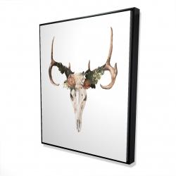 Framed 48 x 60 - 3D - Deer skull with roses