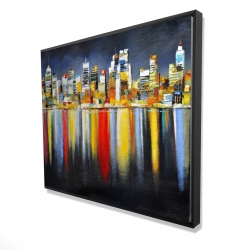 Framed 48 x 60 - 3D - Colorful reflection of a cityscape by night