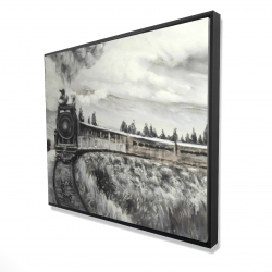 Framed 48 x 60 - 3D - Steam engine train
