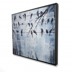 Framed 48 x 60 - 3D - Abstract birds on electric wire