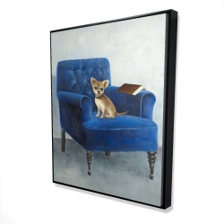 Framed 48 x 60 - 3D - Chihuahua on a blue armchair
