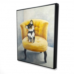 Framed 48 x 60 - 3D - Long-haired chihuahua on a yellow armchair