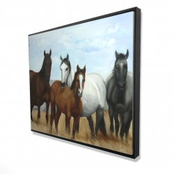 Framed 48 x 60 - 3D - Horses in the meadow by the sun
