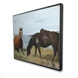 Framed 48 x 60 - 3D - Horses eating in the meadow