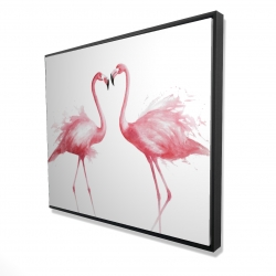 Framed 48 x 60 - 3D - Two pink flamingo watercolor