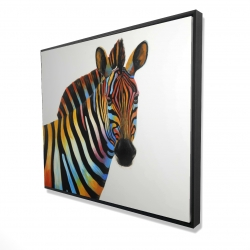 Framed 48 x 60 - 3D - Colorful profile view of a zebra