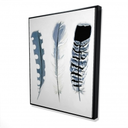 Framed 48 x 60 - 3D - Delicate blue feathers