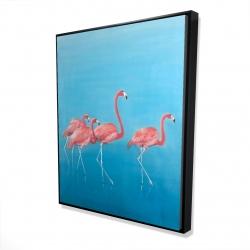 Framed 48 x 60 - 3D - Four flamingos