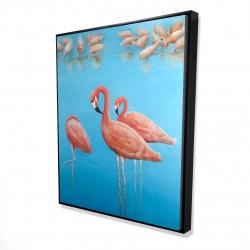 Framed 48 x 60 - 3D - Group of flamingos