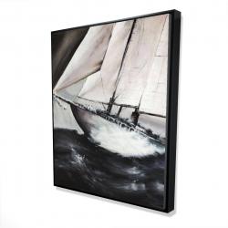Framed 48 x 60 - 3D - Boat in a violent storm