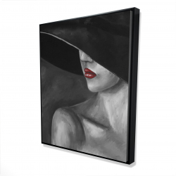 Framed 48 x 60 - 3D - Mysterious woman with a hat