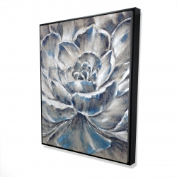 Framed 48 x 60 - 3D - Gray and blue flower