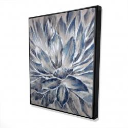 Framed 48 x 60 - 3D - Blue and gray flower