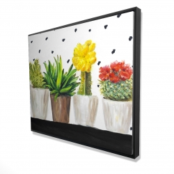 Framed 48 x 60 - 3D - Small cactus and succulents