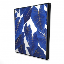 Framed 48 x 60 - 3D - Tropical abstract blue leaves