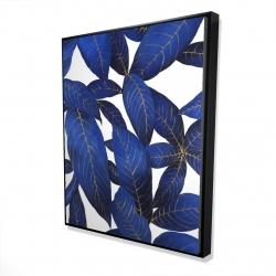 Framed 48 x 60 - 3D - Abstract modern blue leaves