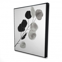Framed 48 x 60 - 3D - Grayscale branch with round shape leaves