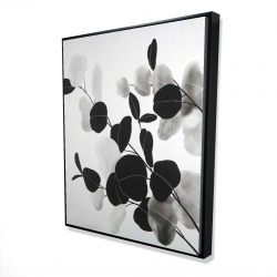 Framed 48 x 60 - 3D - Grayscale branches with leaves