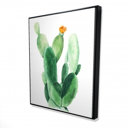 Framed 48 x 60 - 3D - Watercolor paddle cactus with flower