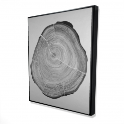 Framed 48 x 60 - 3D - Grayscale wood log