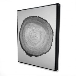 Framed 48 x 60 - 3D - Grayscale round wood log