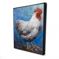 Framed 48 x 60 - 3D - Grey rooster