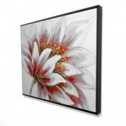Framed 48 x 60 - 3D - Red flower with gold center