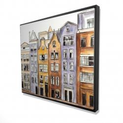 Framed 48 x 60 - 3D - Amsterdam houses hotel