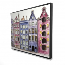 Framed 48 x 60 - 3D - Old historic houses amsterdam