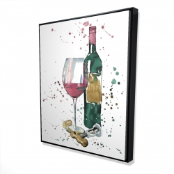 Framed 48 x 60 - 3D - Bottle of red wine