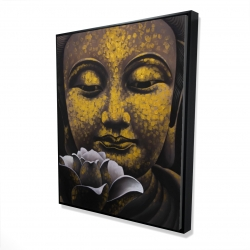 Framed 48 x 60 - 3D - The eternal smile of buddha and his lotus