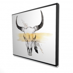 Framed 48 x 60 - 3D - Cow skull with feather