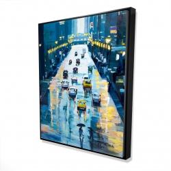 Framed 48 x 60 - 3D - Rainy streets of new york