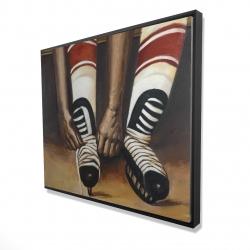 Framed 48 x 60 - 3D - Hockey player ties his skates