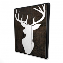 Framed 48 x 60 - 3D - Silhouette of a deer on wood