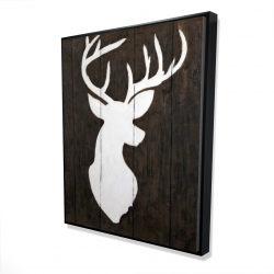Framed 48 x 60 - 3D - White silhouette of a deer on wood