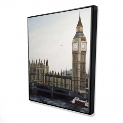 Framed 48 x 60 - 3D - Big ben clock elizabeth tower in london