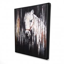 Framed 48 x 60 - 3D - White horse in the dark