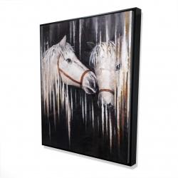 Framed 48 x 60 - 3D - Two white horses kissing