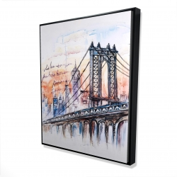 Framed 48 x 60 - 3D - Bridge sketch n-y