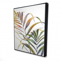 Framed 48 x 60 - 3D - Watercolor tropical palm leaves