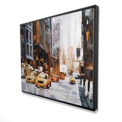 Framed 48 x 60 - 3D - Big city street with yellow taxi